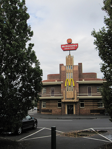 Opposites: hotel reused as fast food outlet 52/9/1
