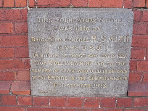 Collingwood RSL foundation stone 52/24/2