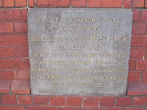 Collingwood RSL foundation stone 52/24/2