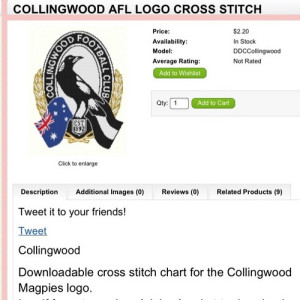 Magpies logo in cross-stitch 52/23/1 #fp13 #stitches by Collingwood Historical Society