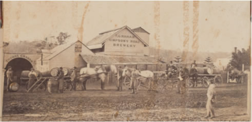 "Thomas Graham's Simpson's Road Brewery between 1865 and 1871. The roof and chimney to the right probably indicate his residence ""Ferry House"". We guess that the stout fellow with the top hat is Mr Graham."