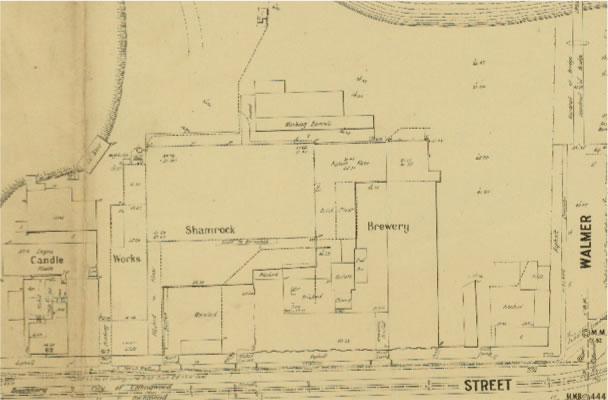 MMBW Detail Plan No. 1304 showing the Shamrock Brewery (and neighbouring candle works owned by Henry Walker). Henry Boyd lived in Graham's house for some years, but by this date (around 1901) the house is no longer in existence.