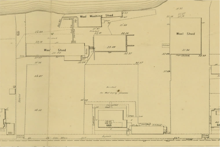 MMBW Detail Plan 1302 shows Nettleton's house, a bricked area for wool drying behind it, two wool sheds, and the wool washing shed by the Yarra.